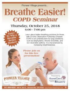 Breathe Easier! COPD Seminar @ Pioneer Village  | Jacksonville | Oregon | United States