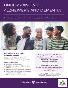 Understanding Alzheimer's and Dementia @ Chintimini Senior & Community Center | Corvallis | Oregon | United States