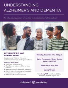 Understanding Alzheimer's and Dementia @ Kaiser Permanente Keizer Station | Keizer | Oregon | United States