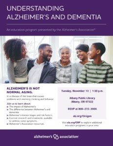 Understanding Alzhiemer's and Dementia @ Albany Public Library | Albany | Oregon | United States