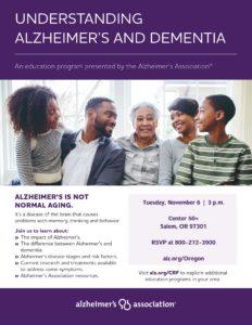Understanding Alzheimer's and Dementia @ Center 50+ | Salem | Oregon | United States
