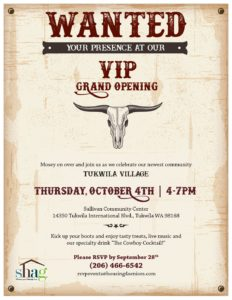 VIP Grand Opening Tukwila Village Senior Living @ Sullivan Community Center | Tukwila | Washington | United States