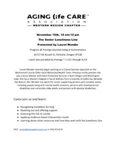ALCA presents: The Senior Loneliness Line @ Prestige Assisted Living at Summerplace | Portland | Oregon | United States