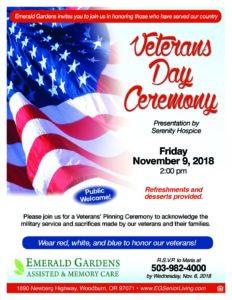 Veterans Day Ceremony @ Emerald Gardens | Woodburn | Oregon | United States