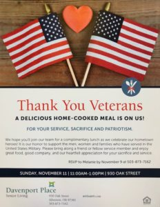 Honoring Our Veteran's @ Davenport Place Assisted Living | Silverton | Oregon | United States