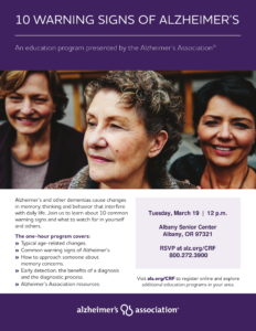 10 Warning Signs of Alzheimer's @ Albany Senior Center