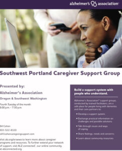 Alzheimer's Support Group – SW Portland @ ZOOM @ ZOOM