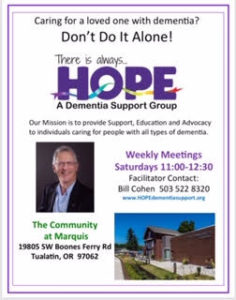CANCELLED - HOPE Dementia Support Group @ The Community at Marquis
