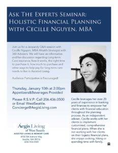 Ask The Experts Seminar: Holistic Financial Planning @ Aegis Living of West Seattle