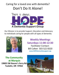 HOPE Dementia Support Group @ The Community at Marquis