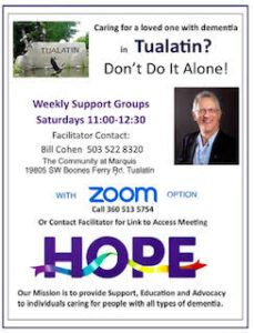 HOPE Dementia Support Group @ The Community at Marquis (with ZOOM option)