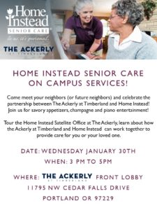 Home Instead and The Ackerly at Timberland's Partnership Kick-Off @ The Ackerly at Timberland Front Lobby