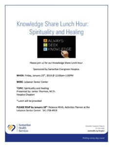 Knowledge Share Lunch Hour: Spirituality and Healing @ Lebanon Senior Center