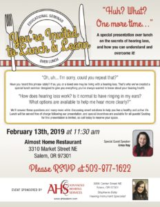Lunch & Learn with Advanced Hearing Services @ Almost Home Restaurant