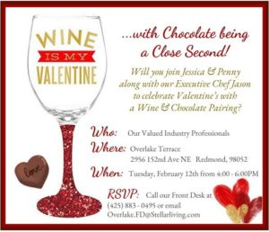 Wine + Chocolate = LOVE  Eastside Industry Mixer @ Overlake Terrace Independent, Assisted & Memory Care