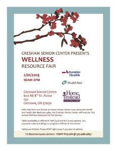 Gresham Senior Center Wellness Resource Fair @ Gresham Senior Center
