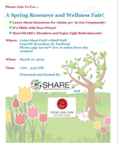 Spring Resource and Wellness Fair with SHARE @ Rose Schnitzer Manor