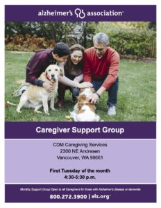 Alzheimer's Association Caregiver Support Group @ CDM Caregiving Services at McKibbin Center
