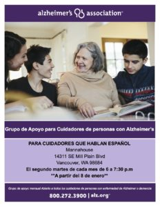 Alzheimer's Association Spanish Language Caregiver Support Group @ Mill Plain City Bible Church
