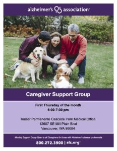Alzheimer's Association Caregiver Support Group @ Kaiser Cascade Parks