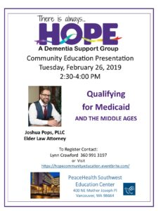 HOPE Educational Presentation: Qualifying for Medicaid @ PeaceHealth Southwest Education Center