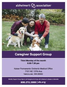 Alzheimer's Association Caregiver Support Group @ Kaiser Permanente Orchards Medical Office