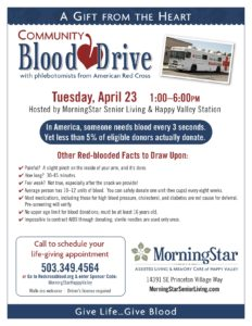Community Blood Drive @ MorningStar Senior Living of Happy Valley