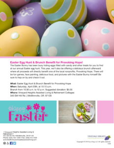 Easter Egg Hunt & Brunch Benefit for Provoking Hope @ Vineyard Heights Assisted Living & Retirement Cottages