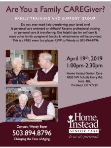 Are You a Family CAREGiver? Family Training and Support Group @ Home Instead Senior Care