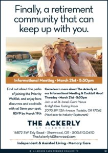 Ackerly at Sherwood Information Session @ St Irene's Event Center and High Dive Bar