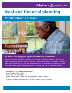 Legal and Financial Planning for Alzheimer's @ Albany Senior Center