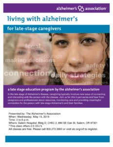 Living with Alzheimer's for Late-Stage Caregivers @ Salem Hospital, Bldg D, CHEC 2
