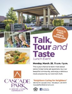 Talk, Tour, and Taste Lunch Event @ Cascade Park