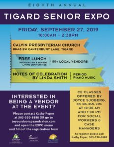 8th Annual Tigard Senior Expo 2019 @ Calvin Presbyterian Church