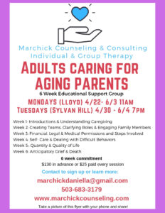 Support Group: Adults Caring For Aging Parents Mondays @ Encoreprenuer Cafe