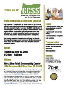 Governor's Commission on Senior Services @ West Linn Adult Community Center