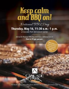 Keep Calm and BBQ on! @ Cascade Park Retirement Center