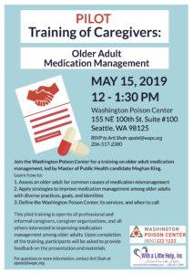 Pilot Training of Caregivers: Older Adult Medication Management @ Washington Poison Center