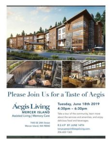 A Taste of Aegis of Mercer Island Networking for Industry and Business Partners @ Aegis of Mercer Island (opening July 2019)