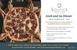 Grab and Go Dinner hosted by Solstice and BEAM @ Solstice at Point Defiance
