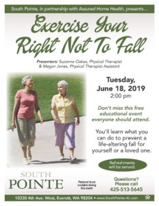 Exercise Your Right Not To Fall @ South Pointe AL