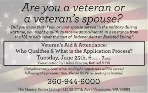 Veteran's Aid & Attendance: Who qualifies and what is the application process? @ The Quarry Senior Living | | |