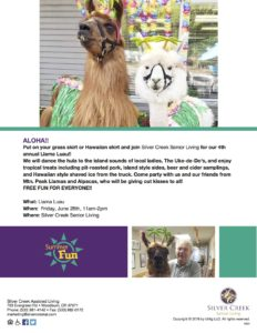 4th Annual Llama Luau @ Silver Creek Senior Living