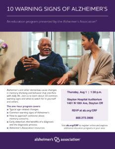 10 Warning Signs of Alzheimer's @ Stayton Hospital Auditorium