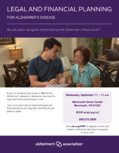 Legal and Financial Planning for Alzheimer's Disease @ Monmouth Senior Center