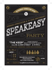 Speakeasy Party- Retirement Connection's Sponsor Appreciation & 10 Year Anniversary Celebration @ The Keep PDX