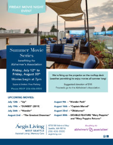 Summer Movie Series - Proceeds go to the Alzheimers Association @ Aegis Living of West Seattle