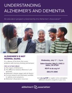 Understanding Alzheimer's and Dementia @ Salem Hospital, Bldg D, CHEC 2