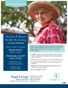 Ask The Experts Seminar: Ovarian and Breast Health Workshop @ Aegis Living of West Seattle