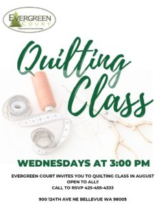 Quilting Classes at Evergreen Court @ Evergreen Court